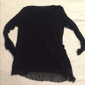 Thin, black, long sleeved scoop neck w/ lace trim